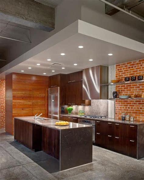modern kitchens  interior brick wall design ideas