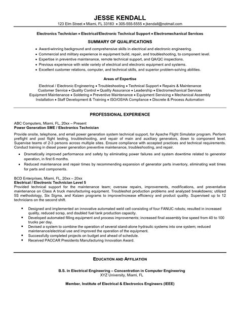 electronics technician resume sles quality assurance