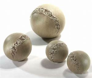 rosen kugel kugeln keramik garten deko figuren skulpturen With französischer balkon mit solarleuchten kugeln garten