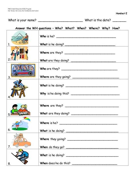 wh questions worksheets google search teaching