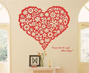 Heart flower wall sticker home decorating photo