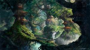 Download 2560x1440 fantasy art, wizard, forest, trees ...