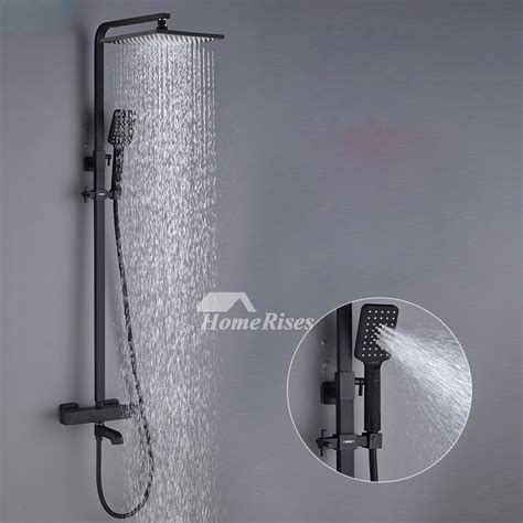 high  black shower faucet oil rubbed bronze wall mount