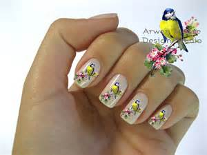 Little blue bird with pink floral nail decal stickers best