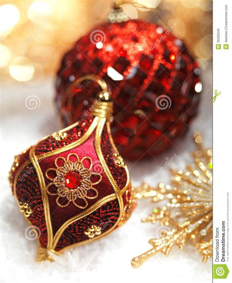 red christmas ornaments stock photography image