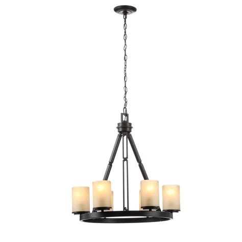 hton bay 7 light nutmeg chandelier 27012 the