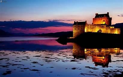 Castle Sunset Donan Eilean Scotland Wallpapers Lake