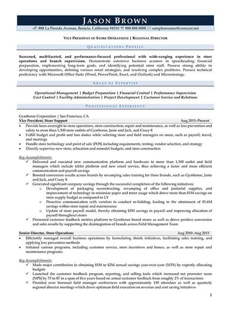 Director Of Retail Operations Resume by Retail Resume Exles Resume Professional Writers
