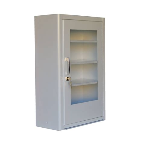 wall mounted metal  aid cabinet  clear panel door