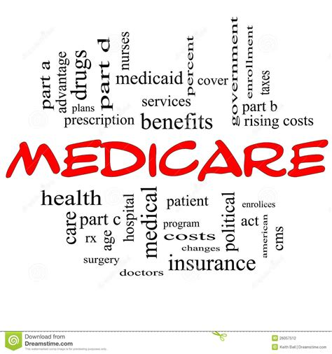 medicare word cloud concept  red caps stock photography