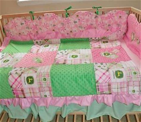 john deere baby infant girl pink green plaid crib nursery