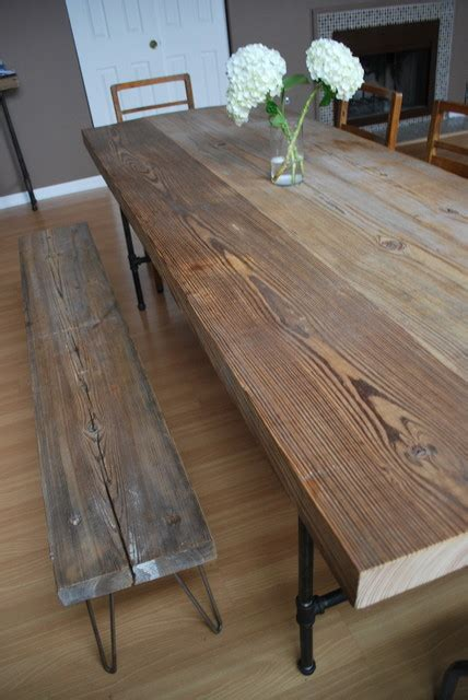 metal legs for wood table reclaimed wood and steel pipe leg table and hairpin leg