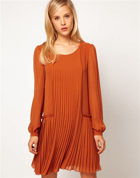 color panel sleeve dress lyst asos collection asos shift dress with pleated
