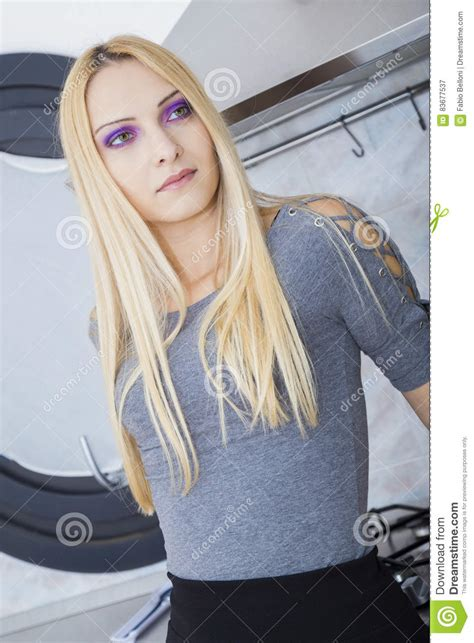 Purple Eyed Blonde Stock Image Image Of Erotic