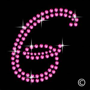 large letter g in pink rhinestone diamante transfer iron With large rhinestone iron on letters