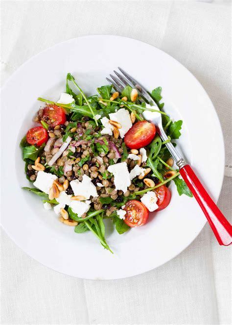 lentil salad with arugula and feta recipe simplyrecipes com
