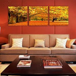 3, Piece, Gold, Wall, Art, Maple, Tree, Painting, Modern, Art, Picture, For, Living, Room, Wall, Decor, Canvas