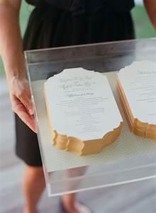 wedding programs on an acrylic tray at a soiree wedding With acrylic wedding invitations diy