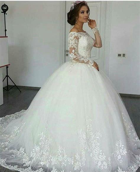 Whiteivory Long Sleeve Lace Wedding Dresses Princess