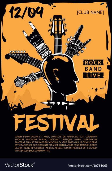 concert poster template poster template for a rock concert vector image