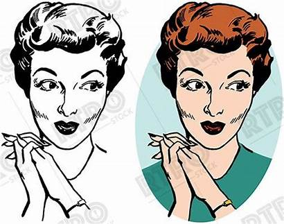 Clipart Woman Retro Lips Clip Pursed Looking