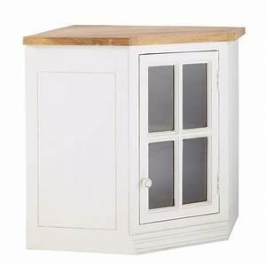Meuble Haut Cuisine Vitré : meuble haut d 39 angle vitr de cuisine ouverture droite en manguier ivoire l 92 cm eleonore ~ Teatrodelosmanantiales.com Idées de Décoration