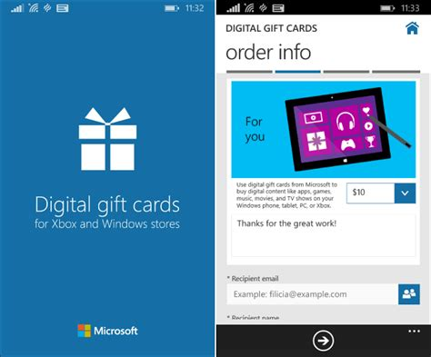 microsoft add digital gift cards app  windows phone