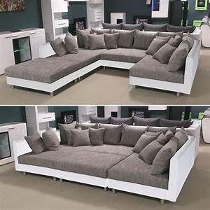 Couch Mit Sessel : wohnlandschaft claudia ecksofa couch xxl sofa mit ottomane und hocker ebay ~ Markanthonyermac.com Haus und Dekorationen