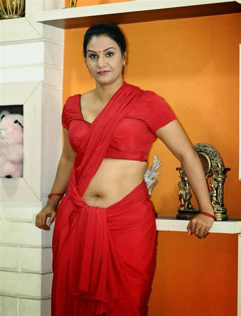 Supporting Actress Apoorva Hot In Red Saree Hot Photos
