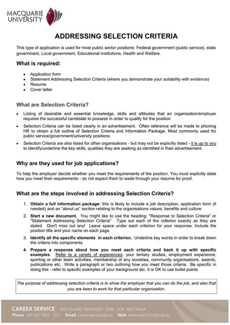 Selection Criteria Cover Letter by Addressing Selection Criteria