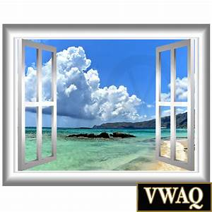 Beach front window frame sky clouds vinyl wall decal