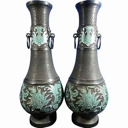 Chinese Bronze Vases Antique Urns Appliques Pair