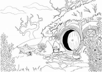 Coloring Hobbit Pages Adult Lord Rings