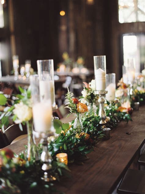Long Farm Table Centerpiece Candles Garland Greenery