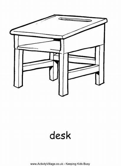 Desk Colouring Pages Coloring Activityvillage Desks Activity
