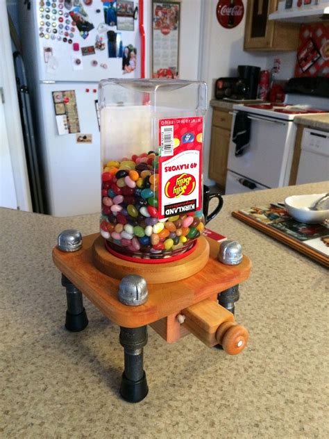 iron pipe  wood candy dispenser industrialsteampunk