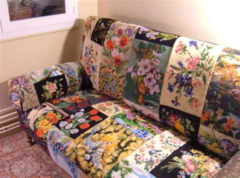 canape patchwork craft project kitsch needlepoint covered chair carnival