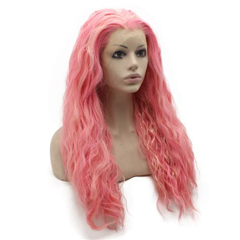 long kinky straight lace front wig blonde pink mix hand