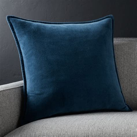 brenner blue velvet pillow crate  barrel