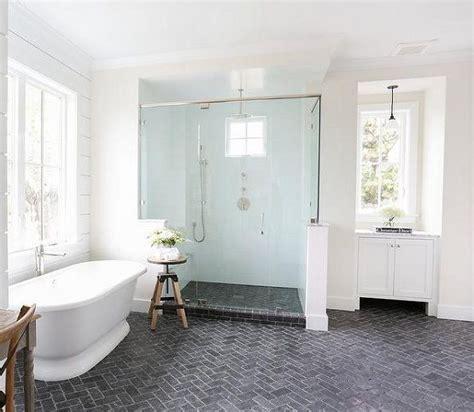 brick floor tile with herringbone pattern in modern