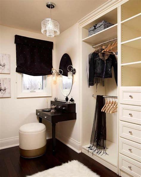 closet with black make up vanity transitional closet