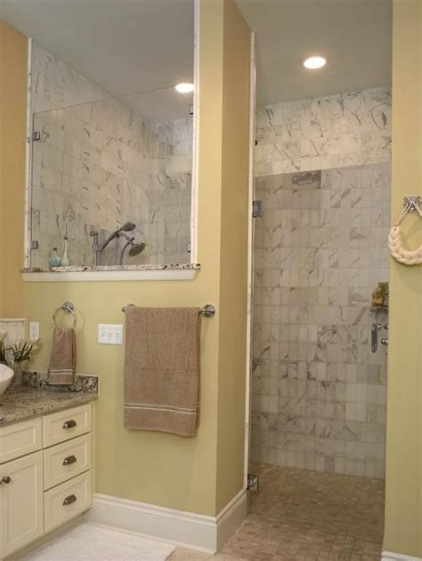 bathroom ideas  doorless walk  shower  small