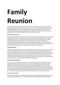 Sample Family Reunion Letters