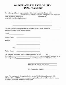 best photos of waiver of property template liability With final lien waiver template