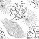 Coloring Leaves Tropical Palm Pattern Natural Seamless Hawaii Caribbean Parrot Islands Pacific Russia Backgrounds sketch template