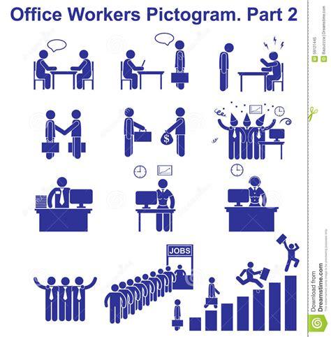 pictogramme bureau placez les pictogrammes d 39 employés de bureau de vecteur