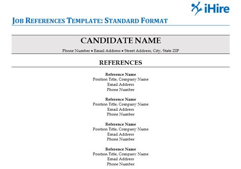 References Template For Resume by References For Template