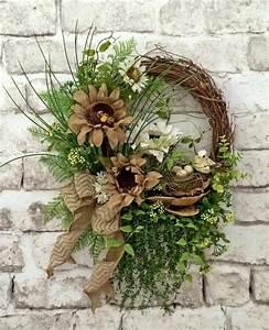 Burlap, Summer, Wreath, For, Door, Front, Door, Wreath, Sunflower