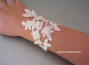 bijoux mariage dentelle bracelet floral ivoire With bracelet de mariage