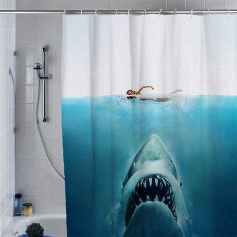 jaws shower curtain shark jaws shower curtain custom shower from supecurtain
